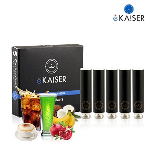E Shisha E Liquid 5 Pack Black Cartomizer Variety Mix E-Cigarette for eKaiser Rechargeable eShisha Cigarette (Apple, Cherry, Grape, Mango, Watermelon)