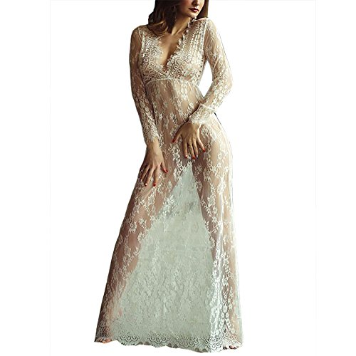 Damen Boho Weben Einzigartig Tiefem V-Ausschnitt Reizvolle Transparent Bikini Cover Up Sommerkleid StrandKleid Lang (EU/38(L), Weiß) (Plus Size Punk Kleid)