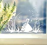ilka parey wandtattoo-welt® Fensterbilder Kinder Frühling Kinderzimmer Cinderella Schmetterlinge Wiese Schmetterlinge M1368f (weiß)