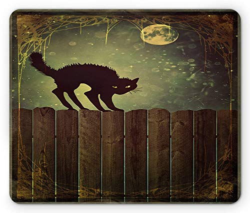 Halloween Mouse Pad, Angry Aggressive Cat on Old Wood Fences at Night Framework Eerie Vintage Print, Standard Size Rectangle Non-Slip Rubber Mousepad, Multicolor