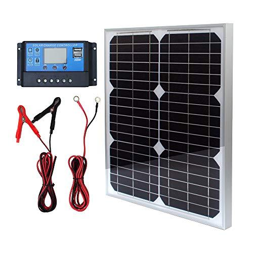20W 12V Monokristallines Solarmodul Solarpanel Solarzelle Kit mit 10A Solarladegerät Laderegler Photovoltaikanlagen Solarbetriebene für Caravan Camper Boot -