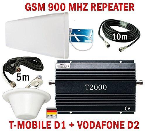GSM Repeater Verstärker Signalverstärker für Telefonie Verstärkung T-Mobile D1 Vodafone D2 + leistungsstarke Außenantenne + leistungsstarke Omni Innenantenne + Montagezubehör