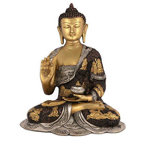 Collectible India Vitarka Buddha Idol Metal Sculpture Buddha Statue Brass Medicine Goddess Statue Decor Gift