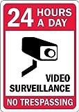 qidushop Vintage Décoration Murale Sign 24Heures par Jour Surveillance vidéo Noir Rouge sur Blanc en métal Post Plaue Femme Homme 25x 35cm