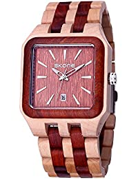 SKONE Square Natural Wood Date Nail Scale Quartz Mens Watch (Red Maple Sandalwood)