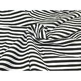 Quality-Fabrics - Tela (polialgodón, 114 cm de ancho, venta por metros), diseño a rayas blancas y negras