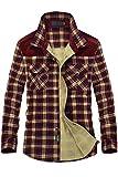 Mr.Stream Herren Thermohemd Flanellhemd Winterjacke Fleecefutter schützendem Innenfutter Holzfällerhemd Arbeitshemd XL Red