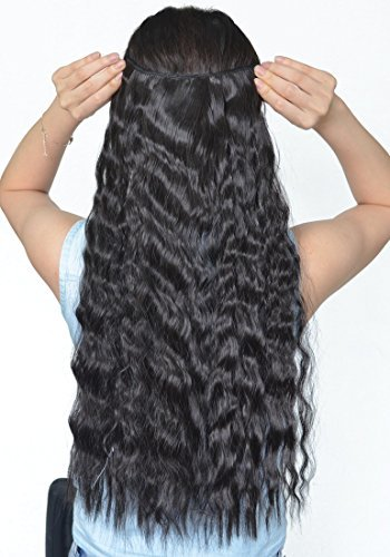 Natural Black 22 Inches Long Corn Wave Curly/Wavy One Piece Clip in Hair Extensions (3/4 Full Head) Clip Ins Hairpiece for Women Lady Girl by US Fashion Outlet