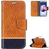 FNBK Huawei P Smart Hülle Leder,Huawei Enjoy 7S Handyhülle Orange,Tasche Krokodil Ledertasche Slim PU Leder Wallet Flip Case Klapphülle Ständer Kartenschlitz Silikon für Huawei P Smart/Huawei Enjoy 7S