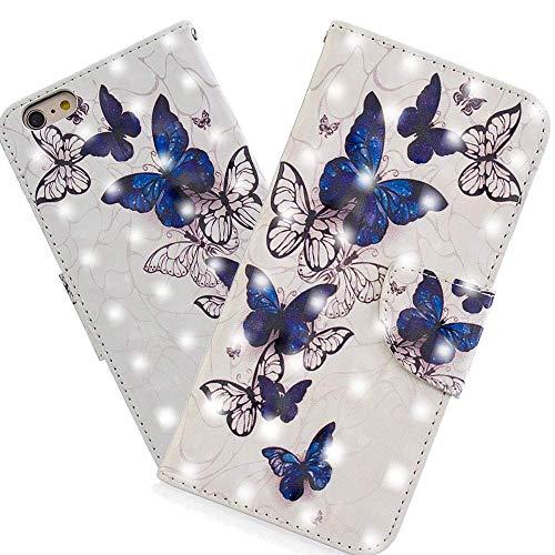 HMTECH iPhone 8 / iPhone 7 Hülle Luxus 3D Schmetterlings Flip Standfunktion Karten Slot Magnetverschluß Brieftasche Schalen Handy Ledercase für iPhone 8,Royal Blue Butterfly