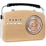 oneConcept NR-12 - Radio de cuisine AM/FM style américain 50's avec tuner analogique - marron clair/beige