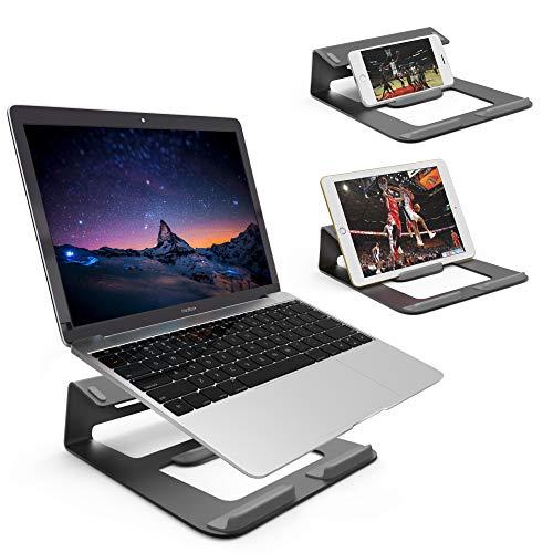 Dobee Laptop Ständer Aluminium Belüftet Notebook Ständer Ergonomische Riser Tragbare Laptopständer mit Anti-Rutsch Silikon für MacBook Pro/Air, Tablet, Mobiltelefon-Schwarz (Patentiert)