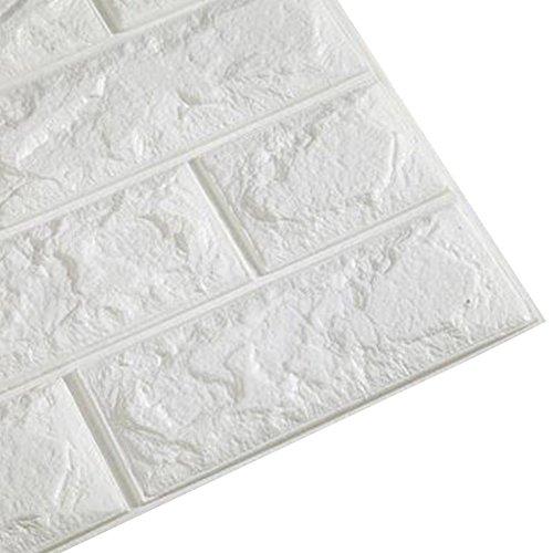 Kasit PE Schaum 3D Ziegel Wandaufkleber wasserdichte Kunst Wand Fliesen Aufkleber für Schlafzimmer Wohnzimmer Hintergrund TV Dekor 60 * 60cm (Ziegel Wand Dekor)