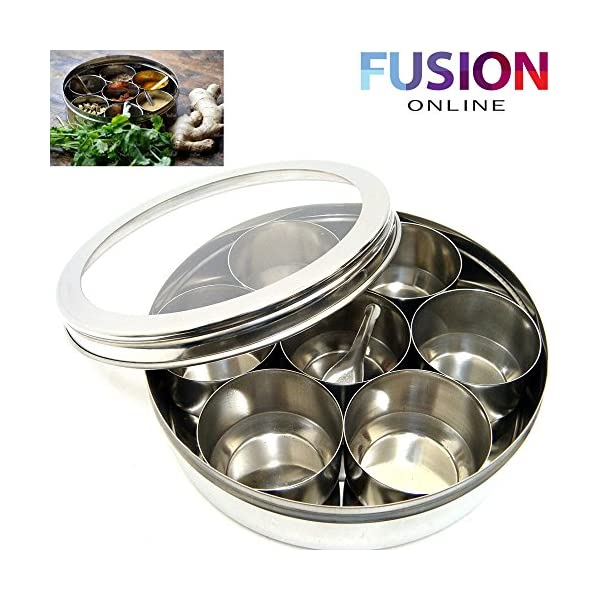 EVELYN LIVING Large Stainless Steel Indian 7 Spice Tin Box Tandoori Masala Dabba Spices Box Storage 4