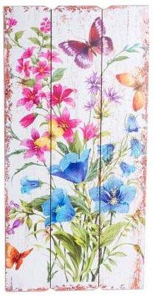 AVENUELAFAYETTE Cadre Tableau Bois Fleurs et Papillon - Vintage rétro - 60 x 30 cm (M3)