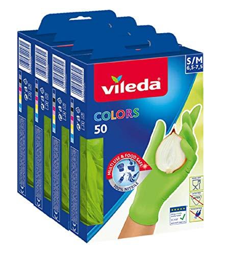 Vileda Colors Nitril 50 Einmalhandschuh, (farblich sortiert), 4er Pack, rosa/grün, 4 x 50 Stücke