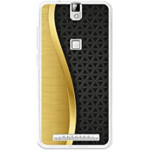 BeCool - Funda Gel Flexible Elephone P8000 Metal Dorado Malla Negra Carcasa Case Silicona TPU Suave
