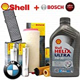 Set mit 6Liter Motoröl Shell Helix 5W30+ 4Filter Original Bosch (1457429185oder F026407072, 0450906457, 1457433588, F026400119)