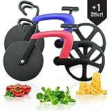 Green Cosy Set de 2 Roulette Pizza vélo très Design qualité ABS Premium et Acier Inoxydable, Coupe Pizza Bicyclette Bleu/Rouge, idée Cadeau décoration vélo Rigolo...