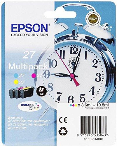 epson wf3640 Epson C13T27054022 Tri Farbe (Gelb, Magenta, Cyan) Original Tintenpatronen Pack of 1