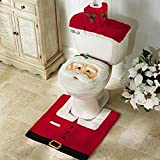 Set of 3 Christmas decoration Santa toilet seat cover & rug & tissue box cover set by DaZu Decor