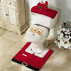 Idea Regalo - Zogin insieme di 3 decorazioni di Natale Babbo sedile WC coperchio e tappeto & scatola del tessuto di copertura insieme