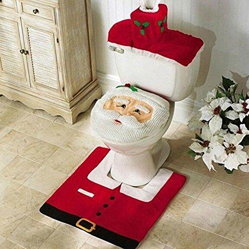 Zogin insieme di 3 decorazioni di Natale Babbo sedile WC coperchio e tappeto & scatola del tessuto di copertura insieme