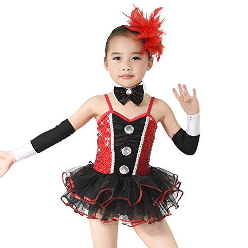 MiDee Kleine Mädchen 'Sequin Liebsten Ballett Ballettröckchen Kostüm Tanzkleid (Schwarz/Rot, (Dance Jazz Kostüme Bilder)