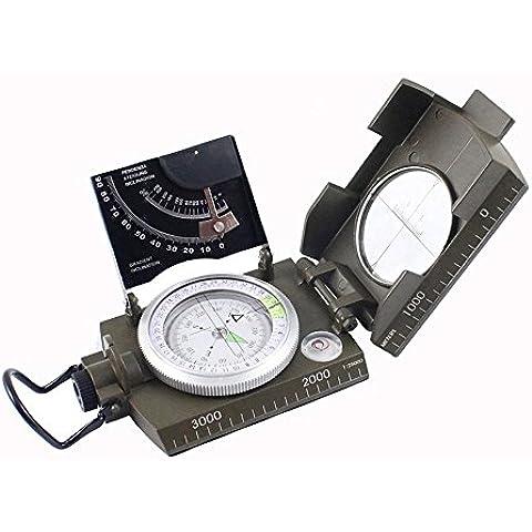 DecentGadget® Multifunción a prueba de agua profesional estadounidense metal militar avistamiento brújula con clinómetro para la escalada que va de