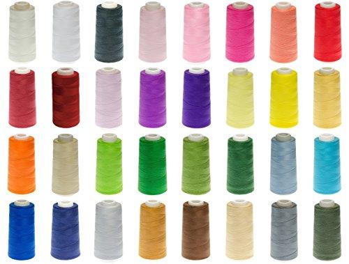 ABC 16 Rollen Qualitäts - Overlockgarn - 3000 Yards - freie Farbwahl aus 32 Farben - Overlock - Garn - reißfest