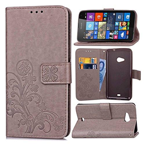 Flip Cover Per Microsoft Lumia 535 , pinlu Alta Qualità Portafoglio in Artificiale Pelle Colorata Luminoso Coperture Eleganti del Telefono Trifoglio Fortunato Grigio