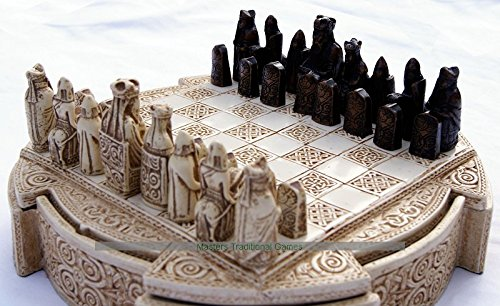 Masters Isle Of Lewis Compact Chess Set - 9 inches, cream cabinet