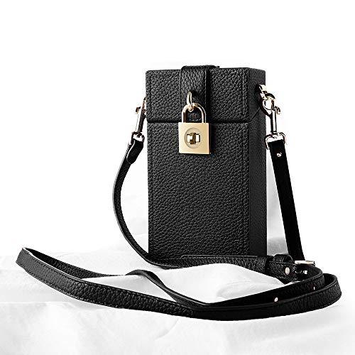 Damen Kleine Leder Umhängetasche Handy Tasche Brieftasche Tasche mit Karte Halter & Schultergurt, Schwarz