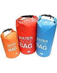 KurtzyTM Set de 3 Bolsas de Lona Impermeables 5/10/15 Litros Kit de Bolsas para Camping, Deportes Acuáticos, Senderismo