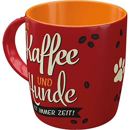 Nostalgic-Art 43041 Retro Kaffee-Becher PfotenSchild - Kaffee & Hunde - Große Tasse mit Hunde Motiv, Geschenk-Idee für Hunde-Liebhaber, 330 ml