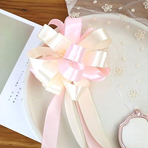 Pull Bögen 10PCS Hochzeit Raum Girlande Band Celebration Treppe Handlauf Schleife Rückspiegel Blume rice white Medium flour