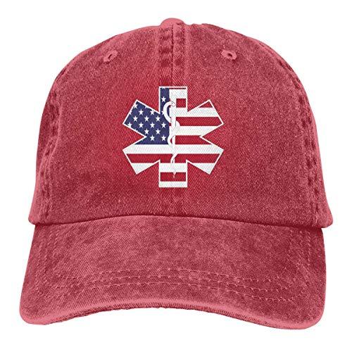 Ingpopol Men&Women Adjustable Yarn-Dyed Denim Baseball Caps American Flag EMS EMT Plain Cap -