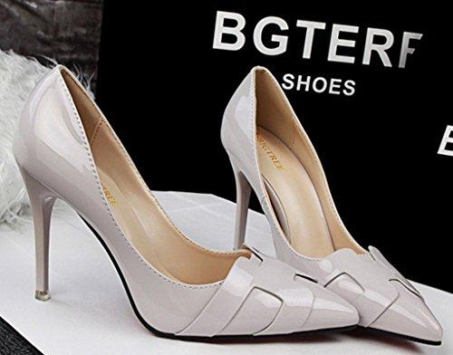 Minetom Donna Scarpe col Tacco Classiche Chiuse Davanti Scarpa Elegante High Heels Lavoro Scarpe Grigio chiaro