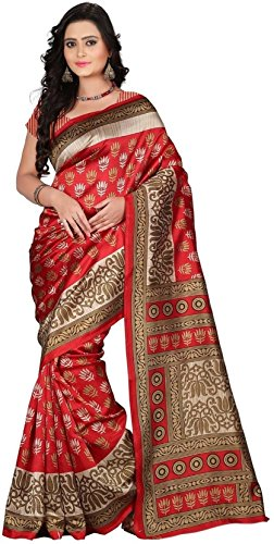 Aarvicouture Women\'s Bhagalpuri Art Silk Saree With Blouse Piece (Aarviart20_Red And Cream)