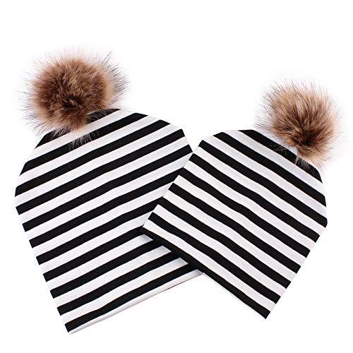Sonnena Mama Wintermütze + Baby Hut Set Jungen Mädchen Kunstfellbommel Schlupfmütze Winter Warme Gestreift Beanie Ballonmütze Kinderschal Babyschal ()