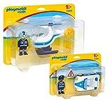 Playmobil 1-2-3 Policia Set: 9383 Helicóptero de la Policía & 9384...