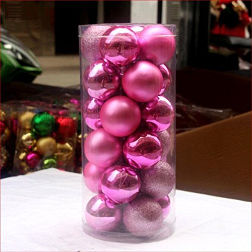 Toifucos 24 Stück Weihnachtskugel, Weihnachtsbaum Ball Verzierungen zum Weihnachten Hochzeit Party Dekoration (2,36 Zoll / 60mm), Rosa