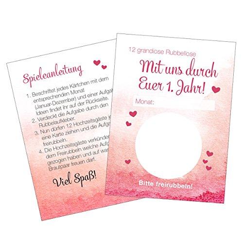 Hochzeitsspiel Mit Uns durch Euer 1 Jahr Karten für Gäste Brautpaar lustiges Kartenspiel