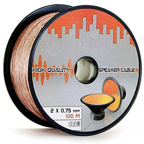 Lokmann 100 Meter 2 x 0,75 mm² Lautsprecherkabel CCA-Kupfer Transparent PVC- Dielektrikum Speaker Hifi Boxen Cable (100m, 2x 0,75mm)