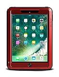iPad 9.7 2018 Hülle, Love Mei Aluminium Schwerlast Metall Hybrid Draussen Sport Stoßfest Schneefest Schmutzabweisend Solide Case zum New iPad9.7 2017 mit gehärtetem Glas (Rot)
