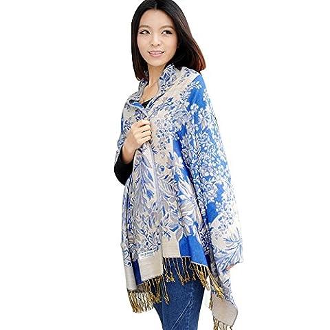 Lumanuby 1 Stück Damen Schal Leinen Material Scarf Reben und blühende Blumen Muster Stola 180 * 70cm Praktische Kleidung Zubehör Blau und Beige Farbe