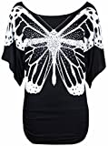 Neu Damen Glitzer Pailletten Schmetterling Bedruckt Oberteile Damen Fledermausärmel Kurzärmelig Stretch Fit T-Shirt Top - Schwarz, 36-38