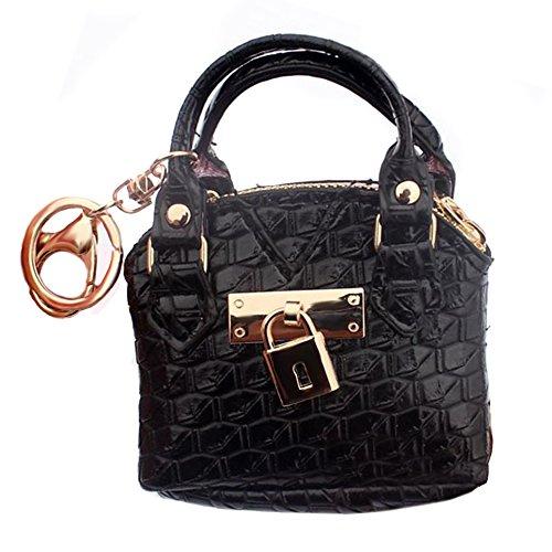 TOOGOO Portefeuille ala mode, sac amain de modele de piece pour les femmes, porte-monnaie pour les Mesdames, Porte-cles,port-carte , mini sacs amain pochette, Noir