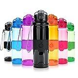 Grsta Sport Trinkflasche, 700ml/24oz - BPA frei Tritan Kunststoff Wasserflasche, Auslaufsicher Sporttrinkflaschen für Laufen, Yoga, Fahrrad, Kinder Schule, Wasser Flaschen mit Sieb (G-Schwarz)