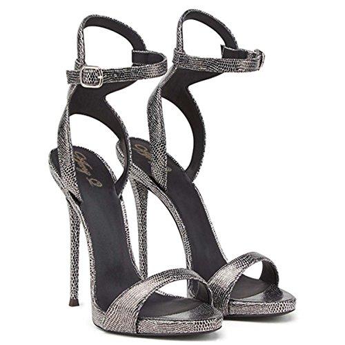 GONGFF Sommer Weibliche Sandalen Snakeskin High Heels Handgemachte Sandalen,#1,46 (Handgemachte High Heel Heels)